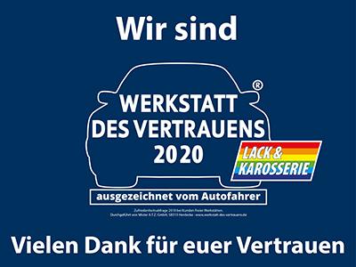 """Auch 2020 darf sich der Lackierfachbetrieb Leitner wieder den Titel """"Werkstatt des Vertrauens"""" führen."""